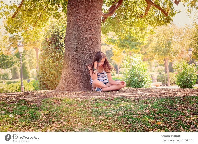 Human being Woman Child Nature Youth (Young adults) Tree Relaxation Loneliness Calm Adults Feminine Natural Park Lifestyle Meditative Earth