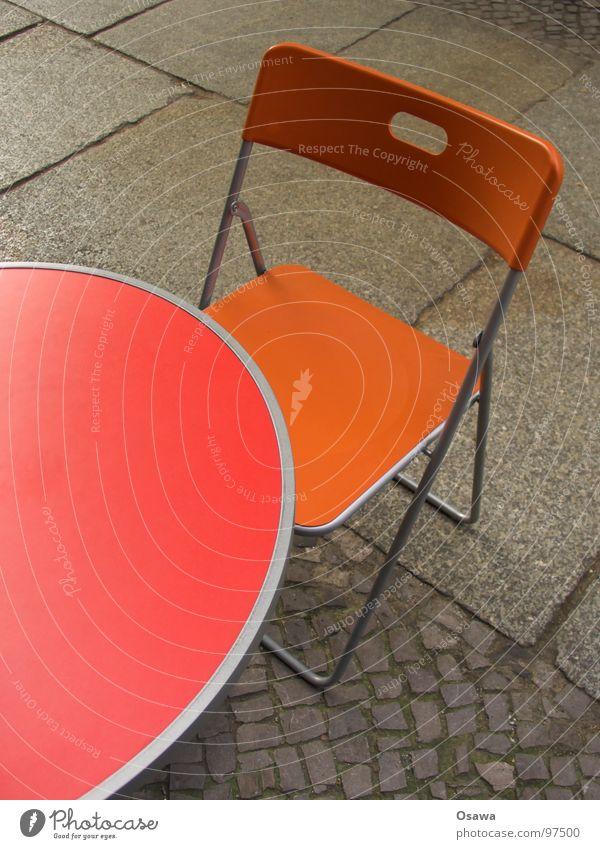 Red Street Orange Table Chair Café Furniture Sidewalk Cobblestones Paving stone Sidewalk café Camping chair