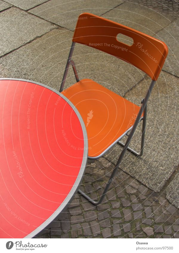Table and chair Café Sidewalk café Red Cobblestones Furniture Chair Street Camping chair Orange Paving stone