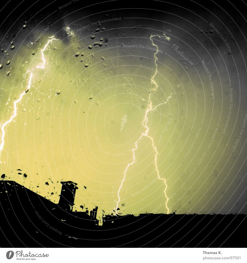 Spectacular weather phenomenon. Window Balcony Lightning Thunder Gale Hurricane Clouds Rain Chimney Roof Dark Electricity Long exposure Might