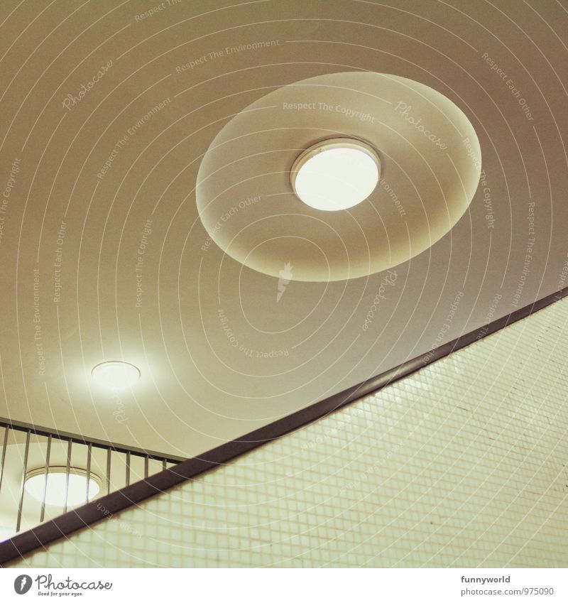 UFO Wall (barrier) Wall (building) Bizarre Design Art Perspective Irritation Lamp Illuminate Light Round Tilt Subdued colour Interior shot Deserted