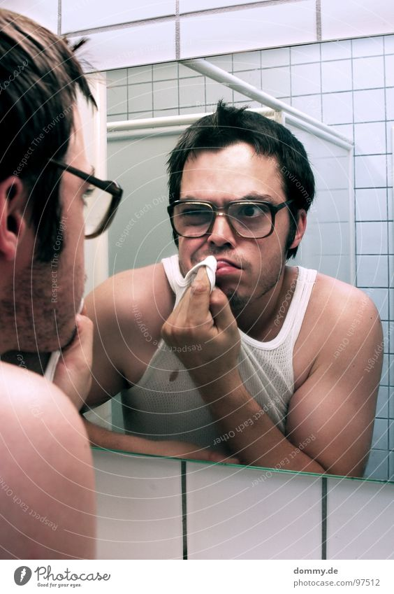 mirror, mirror part III Man Fellow Eyeglasses Hideous Undershirt Bathroom Mirror Mirror image Fingers Tile Point Wipe Cleaning Facial hair Dirty