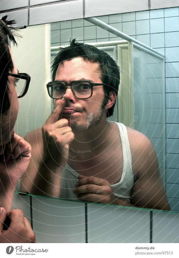 mirror, mirror II Man Fellow Eyeglasses Hideous Undershirt Bathroom Mirror Mirror image Fingers Tile Drill Nasal discharge Facial hair Dirty Antisocial person