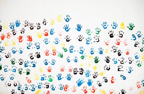 colourful togetherness Lifestyle Joy Leisure and hobbies Art Deserted Wall (barrier) Wall (building) Facade Decoration Imprint handprint Palm of the hand Hand