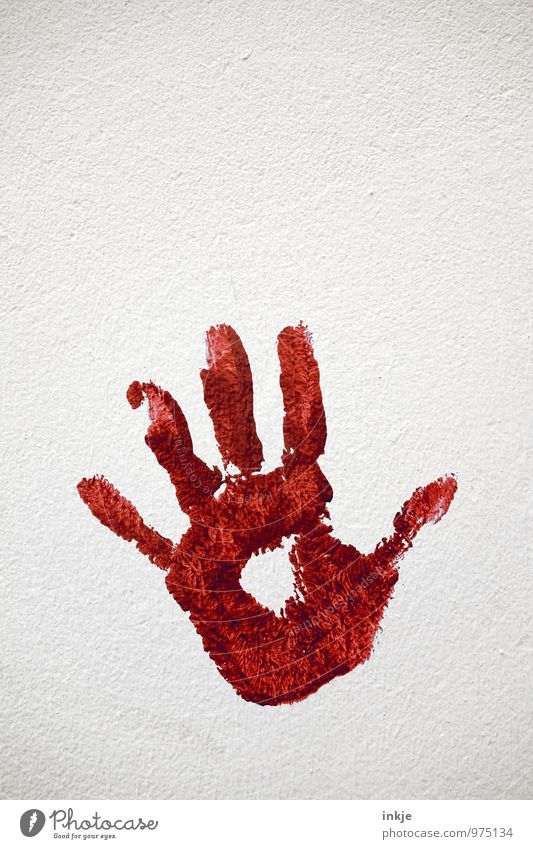 show one's colours Art Deserted Wall (barrier) Wall (building) Facade Sign handprint Imprint Palm of the hand Red White Emotions Moody Defense mechanism