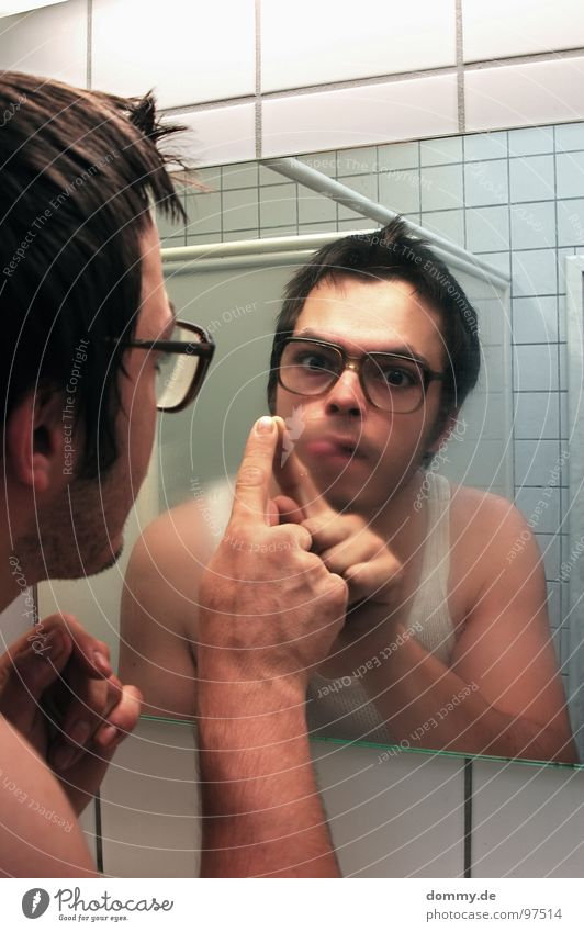 mirror, mirror part Man Fellow Eyeglasses Hideous Undershirt Bathroom Mirror Mirror image Fingers Tile Breath Damp Wipe Facial hair Dirty Antisocial person Joy