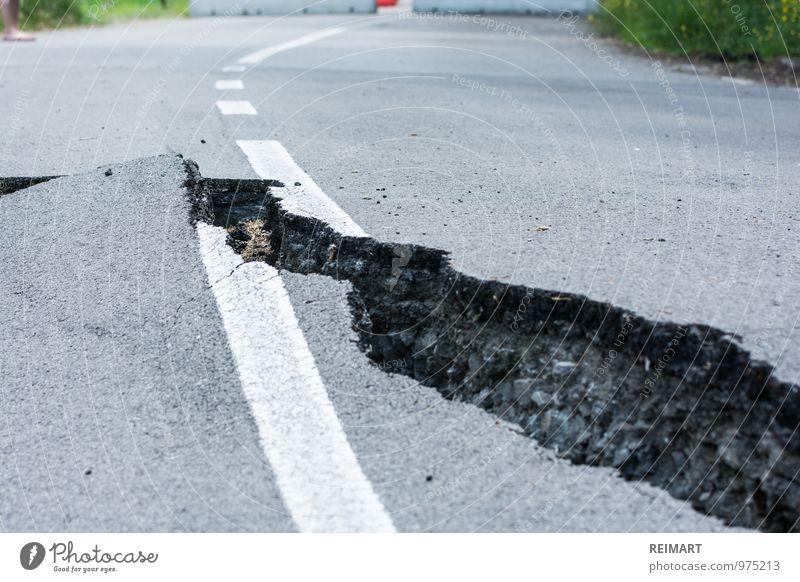 crack in the street Motoring Street Threat Broken Dangerous Italy Crack & Rip & Tear Barrier forsake sb./sth. torn Asphalt Colour photo Exterior shot Day