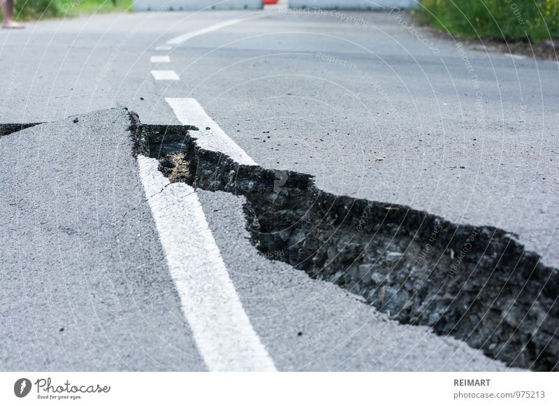 Street Dangerous Threat Broken Italy Asphalt Barrier Crack & Rip & Tear Motoring