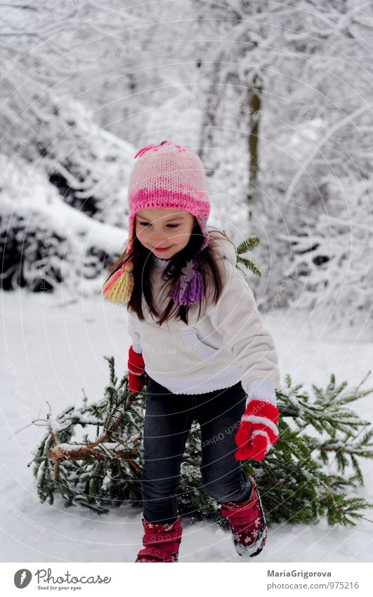 Beautifil girl Walking With Tree Choice Human being Child Nature Christmas & Advent Landscape Girl Joy Winter Forest Snow Feasts & Celebrations Head Park Body