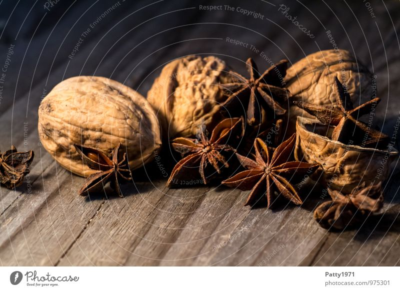 Star anise and walnuts Food Walnut Star aniseed Nutshell baking ingredients illicium verum Nutrition Christmas & Advent Fragrance Delicious Brown Moody