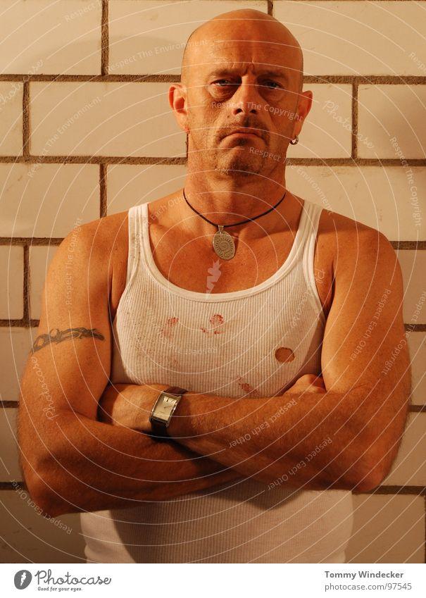 Man Loneliness Wall (barrier) Fear Masculine Dangerous Tattoo Force Bald or shaved head Captured Fan Lie (Untruth) Penitentiary Panic Loyalty