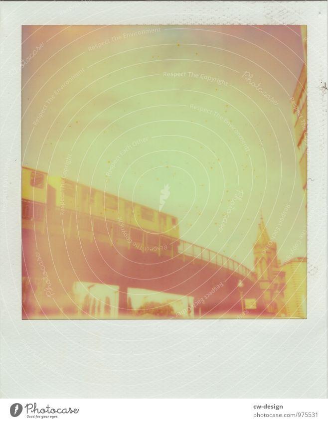 Polaroid of the Berlin subway Underground Yellow Warschauer Bridge Town Capital city Exterior shot Colour photo Skyline Downtown Tourist Attraction Architecture