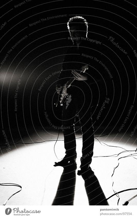 Dane Blues Black & white photo Concert Music Man guitar Rock music Silhouette cable shadow