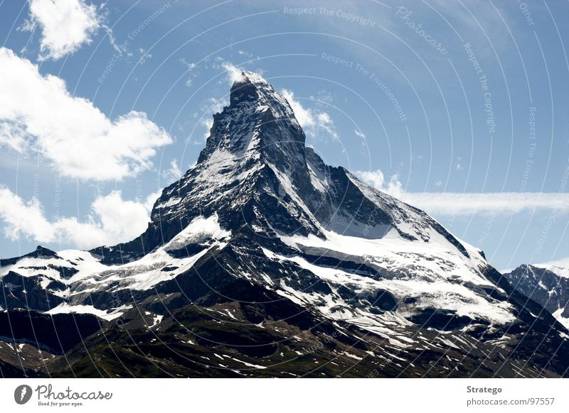 Matterhorn II Zermatt Mountain ridge Clouds Grass Meadow Tourism Japanese Peak Mountaineer Go up To board Climbing Sublime Calm Air Cure Switzerland Peace