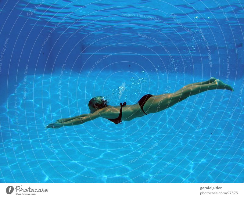 Woman Water Summer Relaxation Jump Movement Swimming pool Dive Bikini Dynamics Hover Majorca Cooling Spain