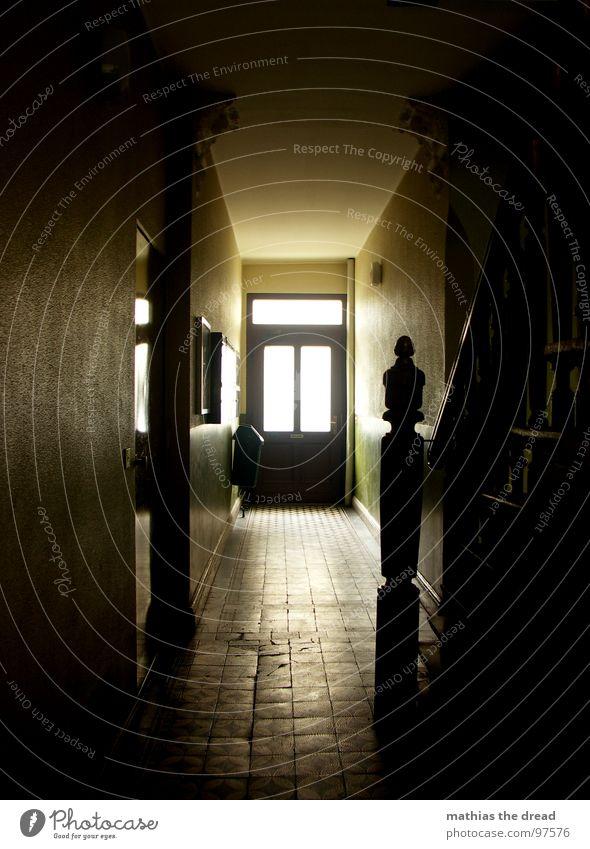Yellow Dark Death Window Wood Stone Room Door Empty Stairs Tile Hallway Handrail Plaster