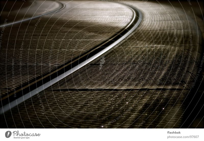 Glittering Level Railroad tracks Curve Bend Tram