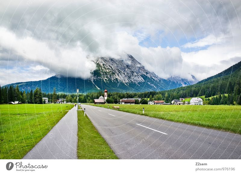 Off to Italy Nature Landscape Sky Clouds Storm clouds Summer Meadow Alps Mountain Village Town House (Residential Structure) Church Traffic infrastructure