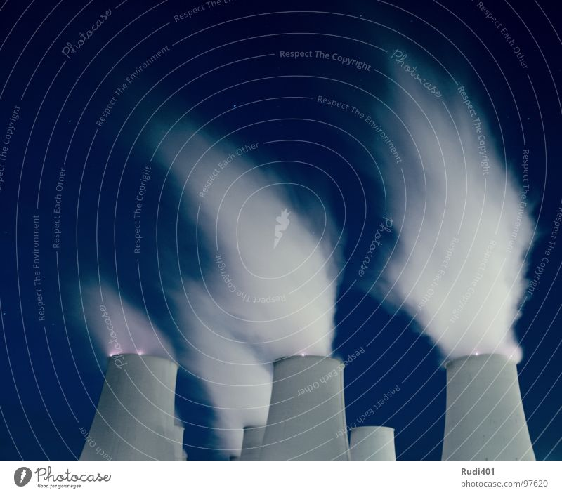Smoke rises ... Night White Environment 6 Power Force Industry Long exposure Chimney Sky Blue Wind Electricity generating station vetschau slow exposure