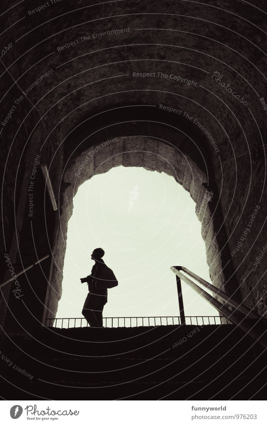Silhouette Woman Adults 1 Human being Tourism Camera Wait Way out Sightseeing Vault Travel photography Take a photo Shadow Above Black & white photo
