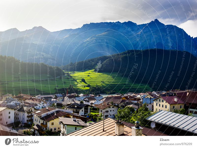 Nauders Environment Nature Landscape Sky Sun Sunlight Summer Beautiful weather Tree Bushes Meadow Alps Mountain Village Small Town House (Residential Structure)