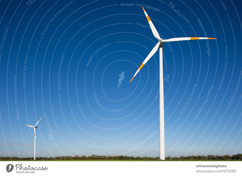 Nature Blue Green White Sun Red Landscape Environment Wind Tall Technology Electricity Copy Space Sign Symbols and metaphors Wind energy plant