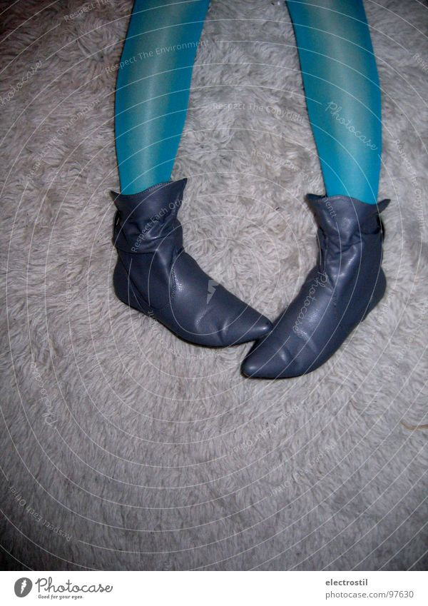walk a mile in my shoes Footwear Flock carpet Tights Turquoise Boots Leisure and hobbies Woman Legs Blue Elf