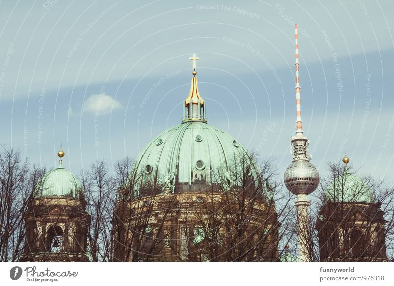 old and new. berlin. Architecture Culture Berlin Germany Berlin TV Tower Oberpfarrkirche zu Berlin Capital city Downtown Church Dome Old New Colour photo