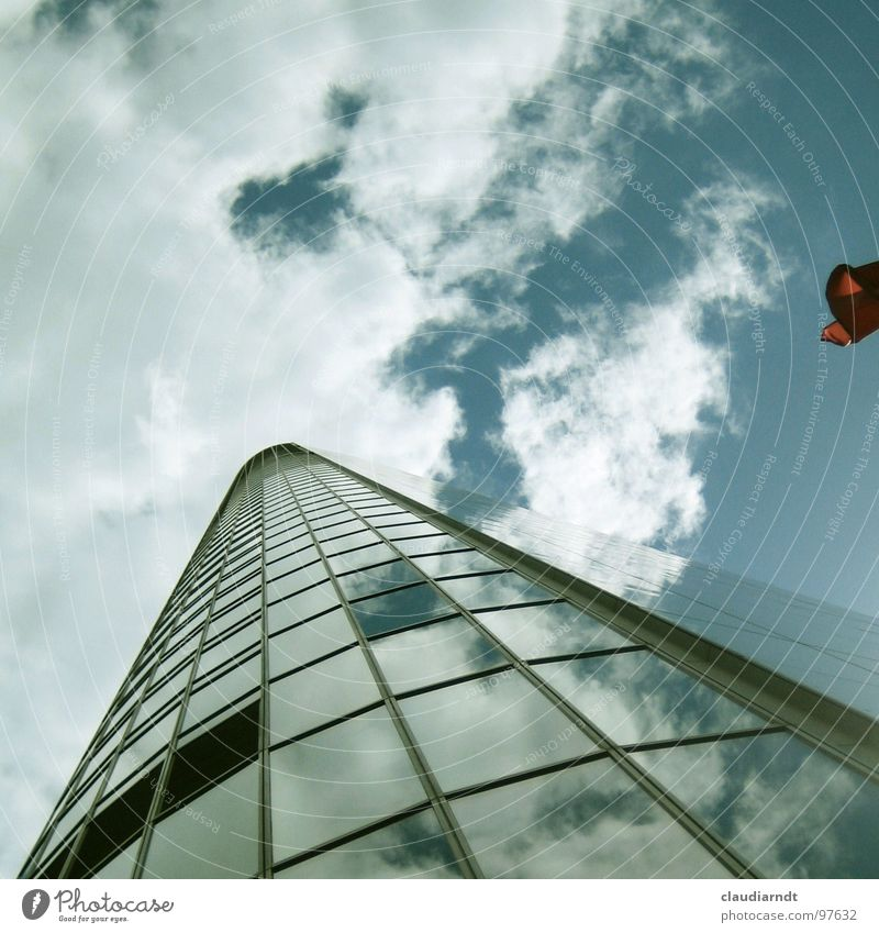 structural engineering High-rise Window Glazed facade Frankfurt Town Middle Stock market Mirror Reflection Clouds Perspective Aspire