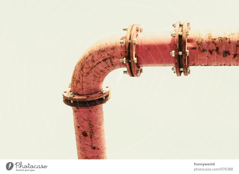 FLANSCH! Industrial plant Factory Pipe Iron-pipe Conduit Old aboveground Pink Transmission lines Flow Flange Pipeline Rust Colour photo Exterior shot Detail