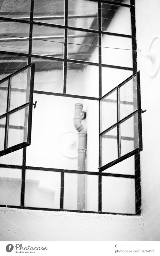windows Wall (barrier) Wall (building) Window Roof Conduit Window frame Glazed facade Living or residing Black & white photo Interior shot Deserted Day