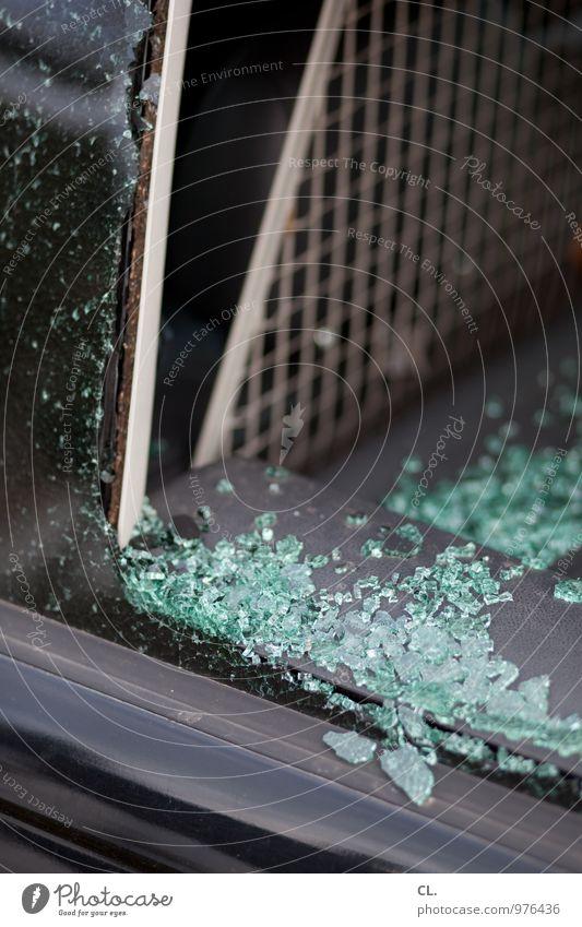 crash Car Car Window Shard Accident Glass Broken Fear Dangerous Threat Adversity Safety Destruction Colour photo Exterior shot Deserted Day
