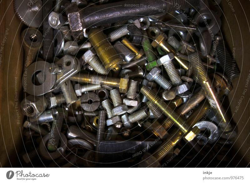 Old Metal Work and employment Technology Metalware Construction site Many Profession Craft (trade) Collection Muddled Box Screw Drawer Mixed Nut