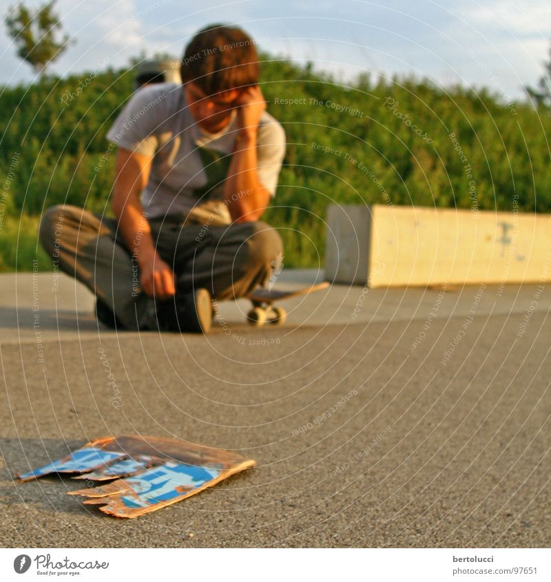 Youth (Young adults) Think Leisure and hobbies Concrete Broken Grief Pain Skateboarding Wooden board Destruction Funsport Parking level