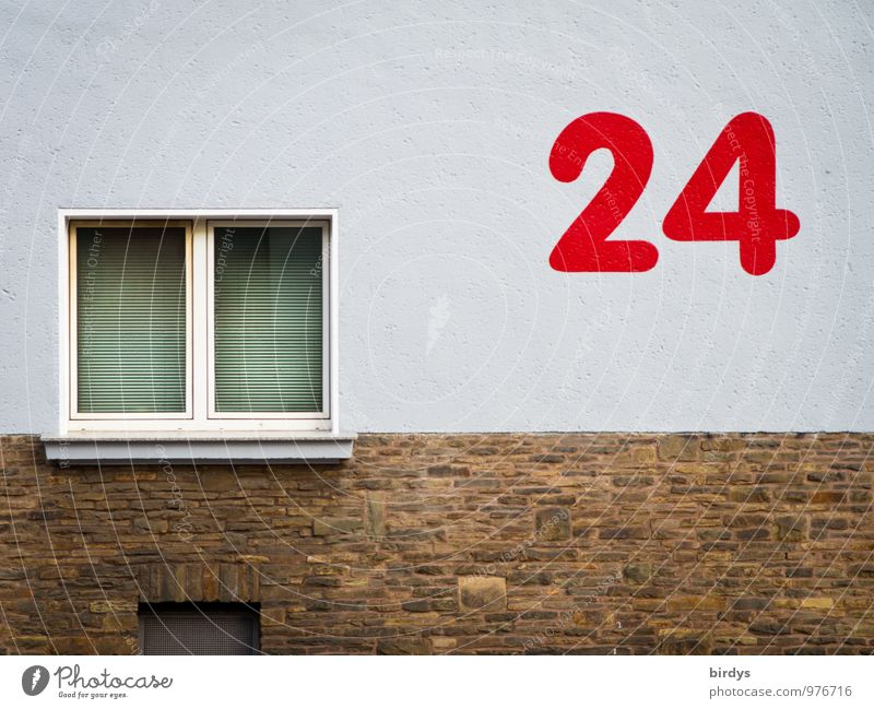 24, red, large number on house wall. House number Wall (barrier) Wall (building) Facade Window Digits and numbers Esthetic Exceptional Large Whimsical Style