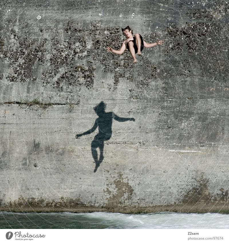 Water Blue Summer Joy Wall (building) Jump Above Movement Freedom Wall (barrier) 2 Together Flying Free Dangerous River