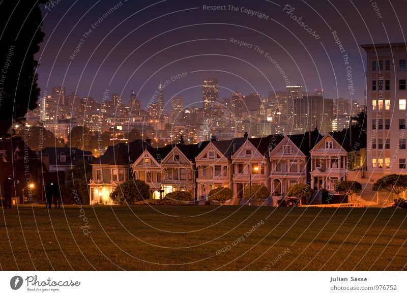 Alamo Square San Francisco Night sky Cool (slang) House (Residential Structure) Skyline Lure of the big city Town American Flag West West Coast