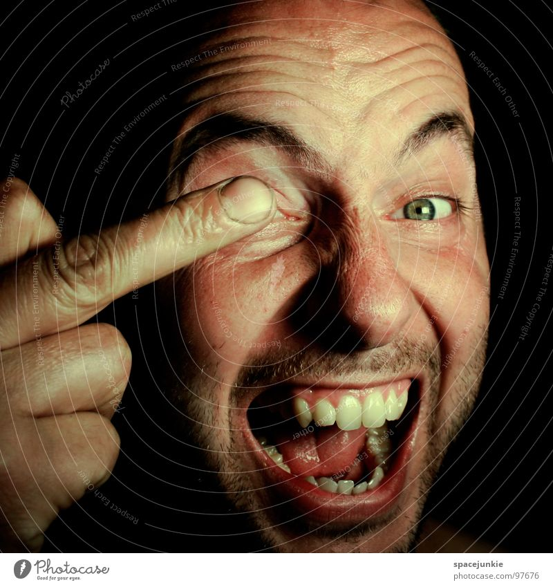 Turn a blind eye Aggravation Evil Aggression Freak Portrait photograph Anger Redneck Unfair Beast Heartless Tough guy Face Hand Fingers Proverb Humor Funny