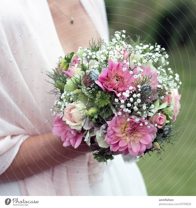 Bridal bouquet in Q Elegant Happy Beautiful Skin Feasts & Celebrations Wedding Woman Adults Couple Body Breasts Arm Stomach Low neckline 1 Human being