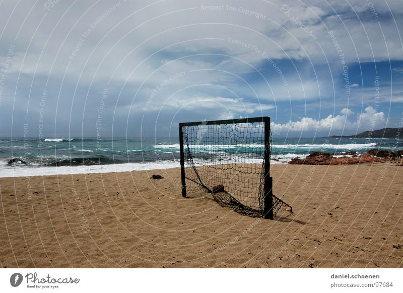 where's the goalkeeper??? Soccer Goal Beach Ocean Horizon Vacation & Travel Clouds Background picture Empty Loneliness Corsica France Waves White Summer
