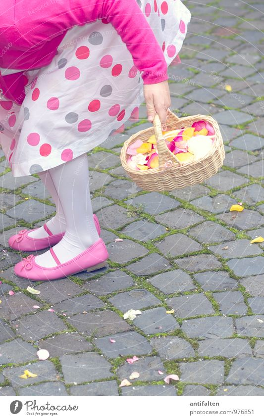 Human being Child Hand Flower Joy Girl Feminine Natural Feasts & Celebrations Legs Feet Pink Family & Relations Body Infancy Footwear