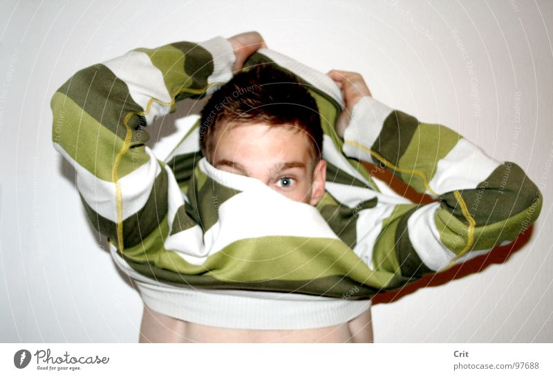 pull over Sweater Dressing Bathroom Background picture Skin Boy (child) Striped Striped sweater Extract Attract Looking into the camera Youth (Young adults) 1