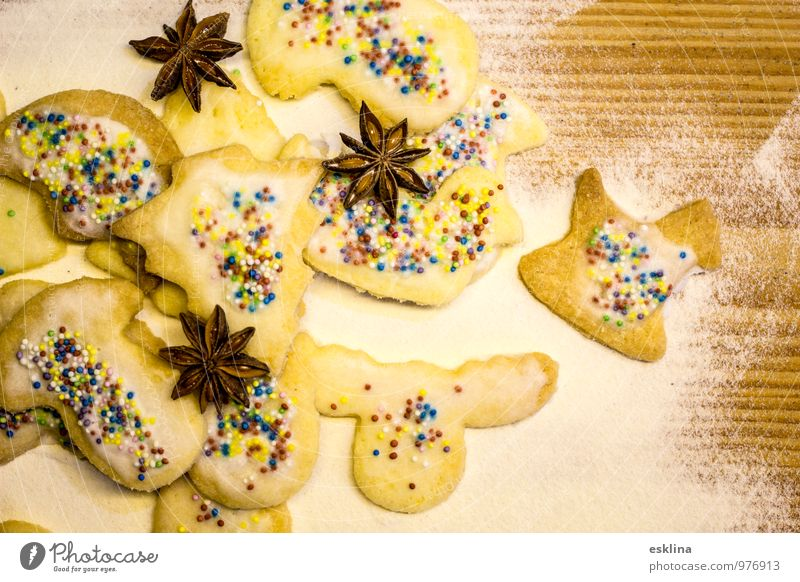 Christmas & Advent White Yellow Wood Feasts & Celebrations Brown Food Nutrition Delicious Candy Fragrance Baked goods Dough Flour To have a coffee Star aniseed