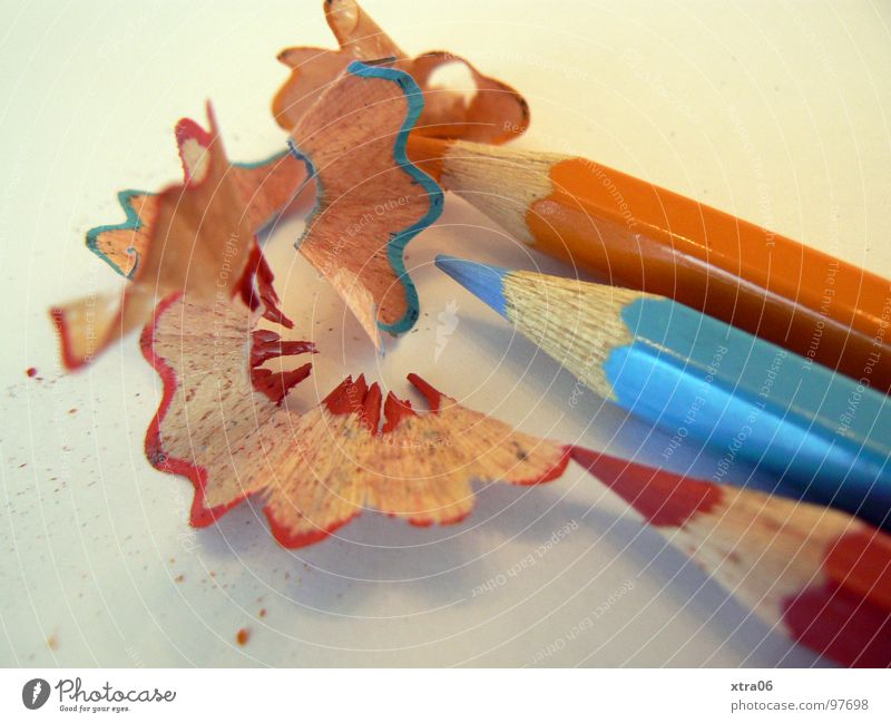 Blue Red Together Orange 3 Point Painting (action, work) Things Pen Draw Crayon Light blue Pointed Side by side