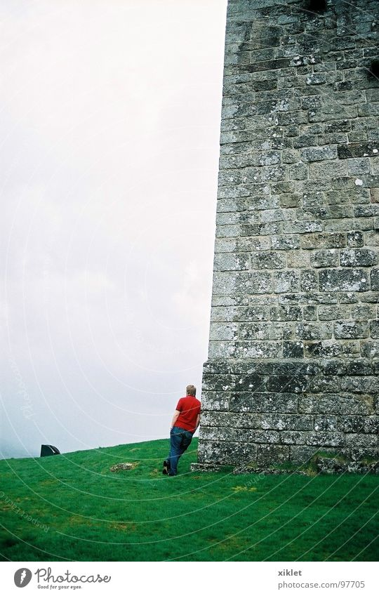 castel Green Red Winter Calm Clouds Loneliness Cold Meadow Grass Gray Landscape Fog Grief Uniqueness Castle Distress