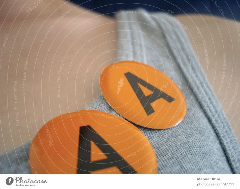 Well... Double A. Letters (alphabet) Shoulder Name badge T-shirt 2 Gray Joy Characters Double exposure Neck Orange