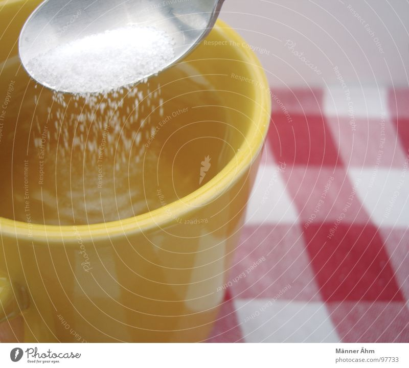 A little sugar? Sugar Spoon Cup Hot Yellow White Red Drinking Tea Blanket Stir Checkered
