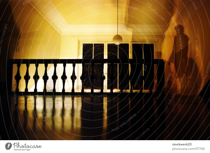 your ghost Staircase (Hallway) Long exposure Villa Dark Watchfulness Fear Panic Transience Handrail reflection Human being Silhouette Empty discomfort