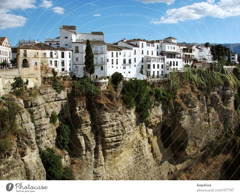 Sky Sun City House (Residential Structure) Mountain Rock Europe Spain Canyon Andalucia Malaga Ronda Costa del Sol