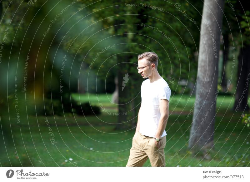 Human being Nature Youth (Young adults) Man Green White Summer Landscape Young man 18 - 30 years Adults Life Meadow Style Garden Going